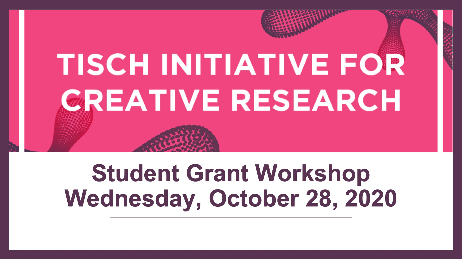 TCR Student Grant Workshop 2020