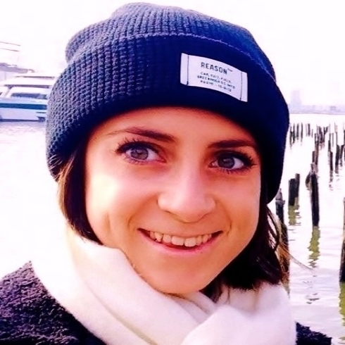 Katie Beeton wearing blue beanie