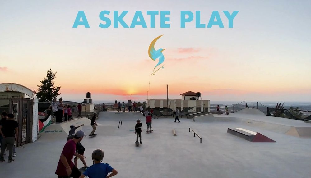 sunset over a skatepark with skaters, A Skate Park logo laid over top of image