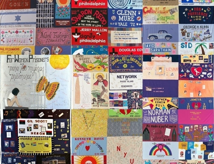 Display of 9 panels from Aids Memorial Quilt. Colorful panels
