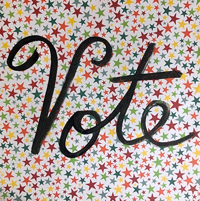 the word vote written in black over a background of multicolor stars