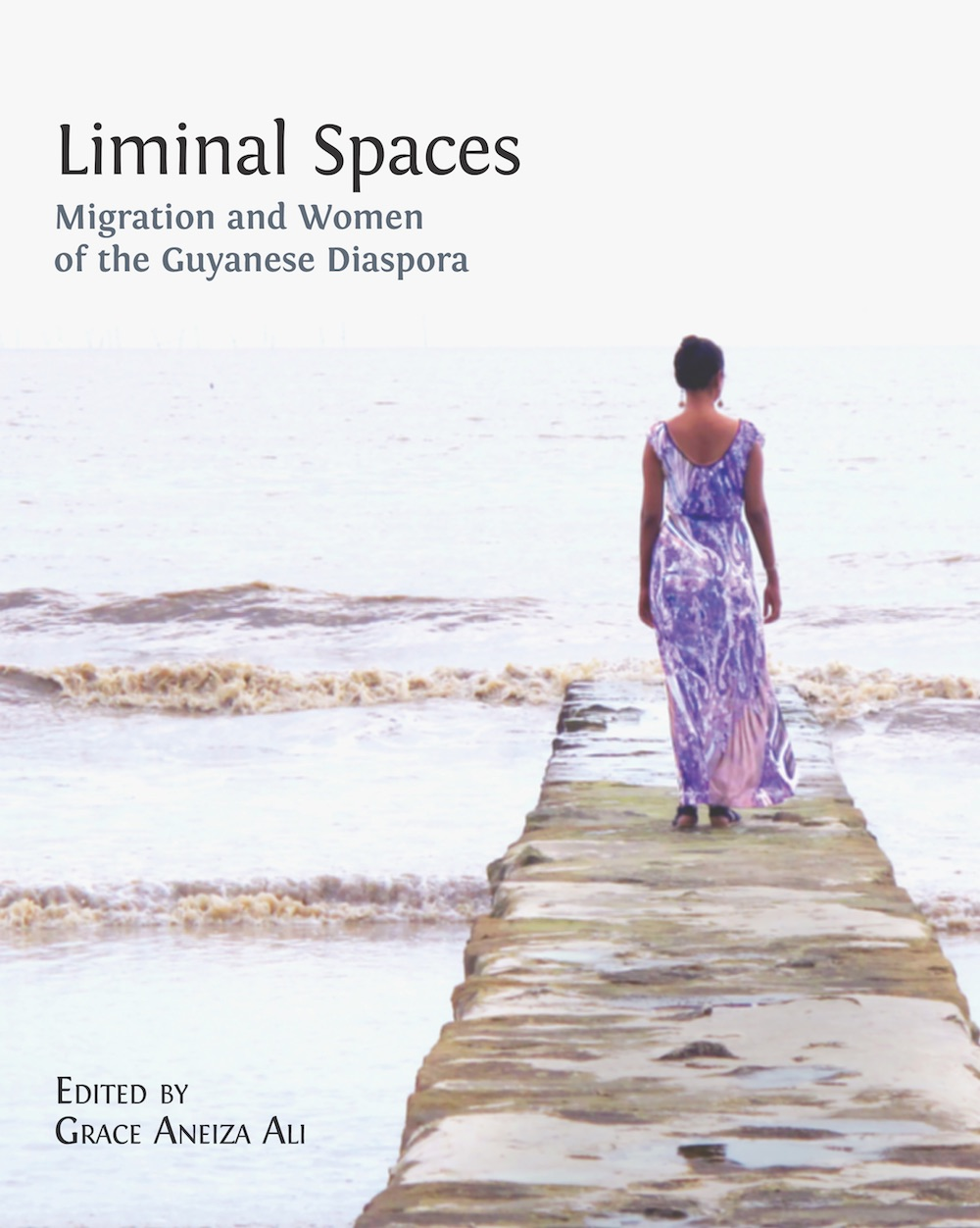 book cover with title text in black in upper left corner and the back of a women in a purple dress walking down a dock