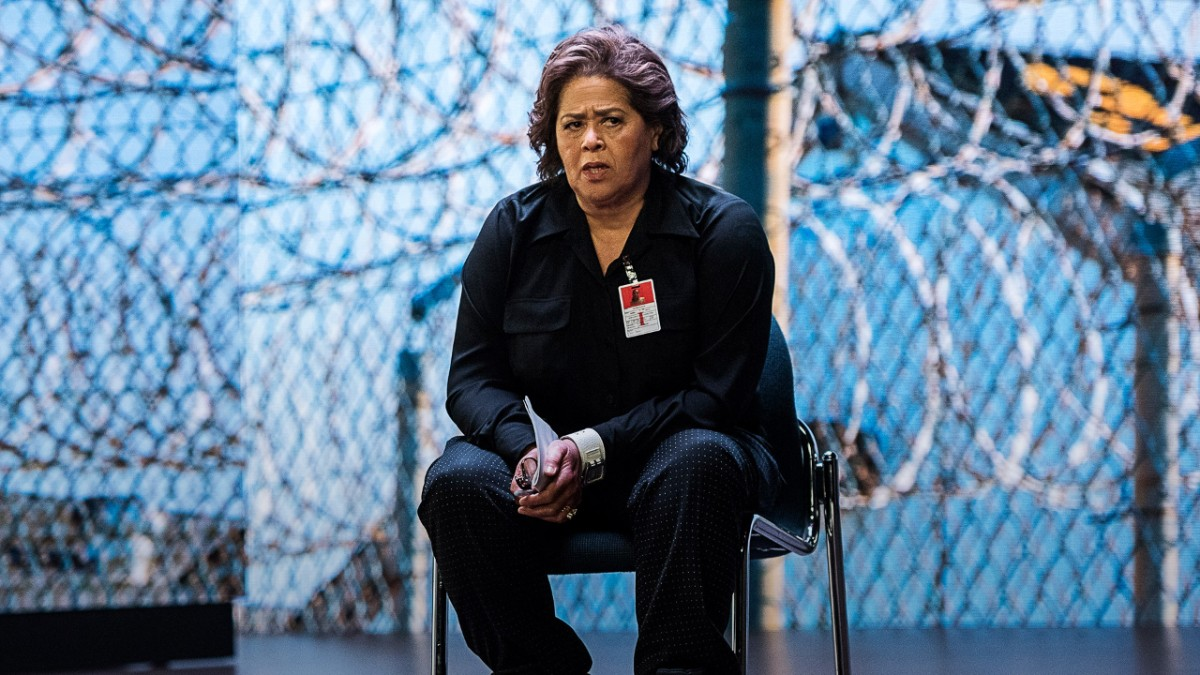 Anna Deavere Smith sits on chair in front of blue background with images of barbed wire