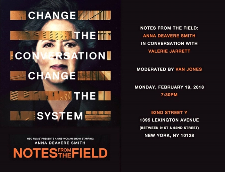 "Flyer in all black with event details in white and red text, left hand side face of woman with ""change the conversation change the system"" laid on top"