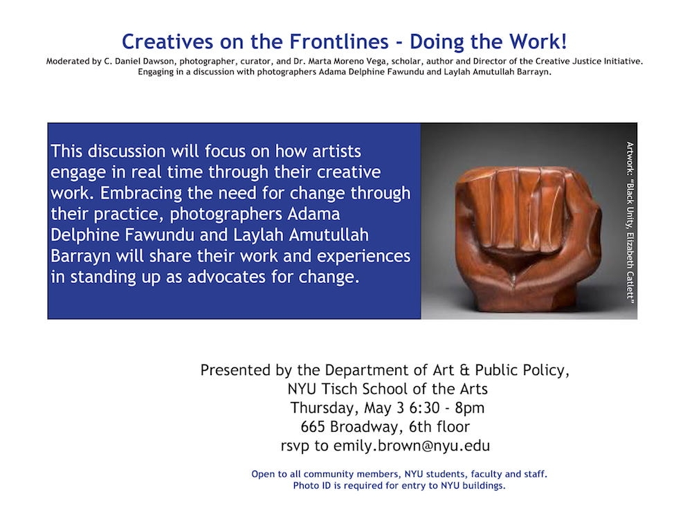 Event flyer with title in blue, event description in blue box mid page and photo of sculpture fist aligned to the right