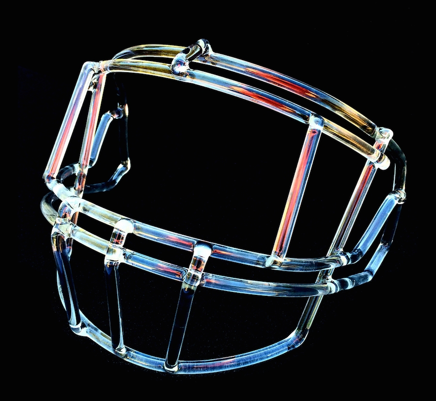 Front mask of football helmet made of glass