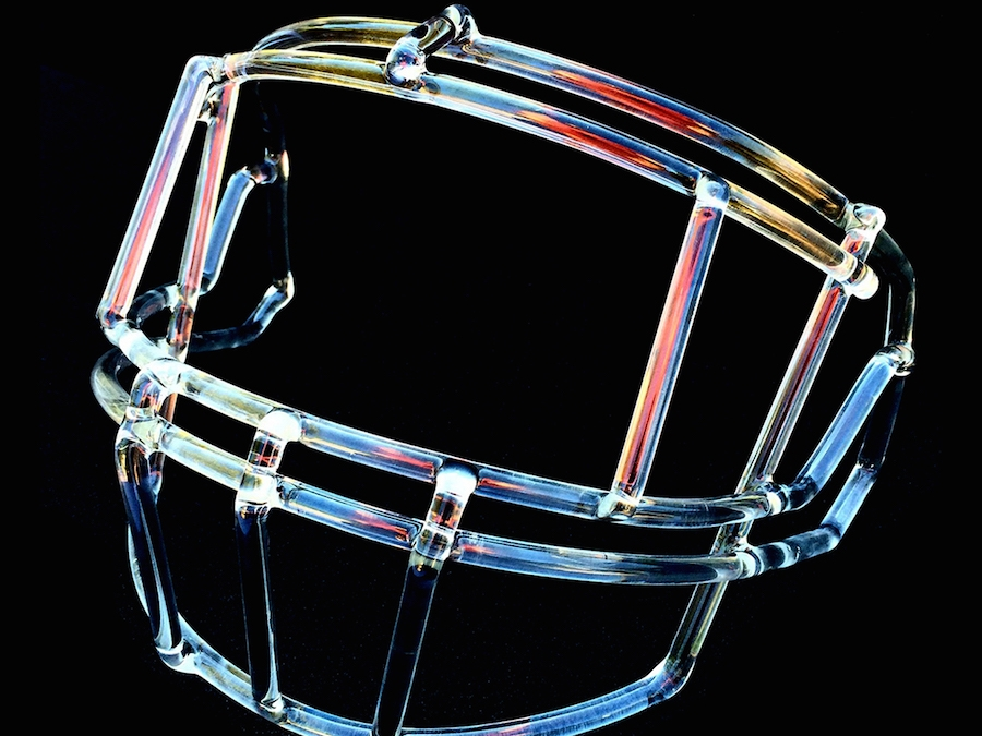 Front Mask of football helmet constructed out of glass