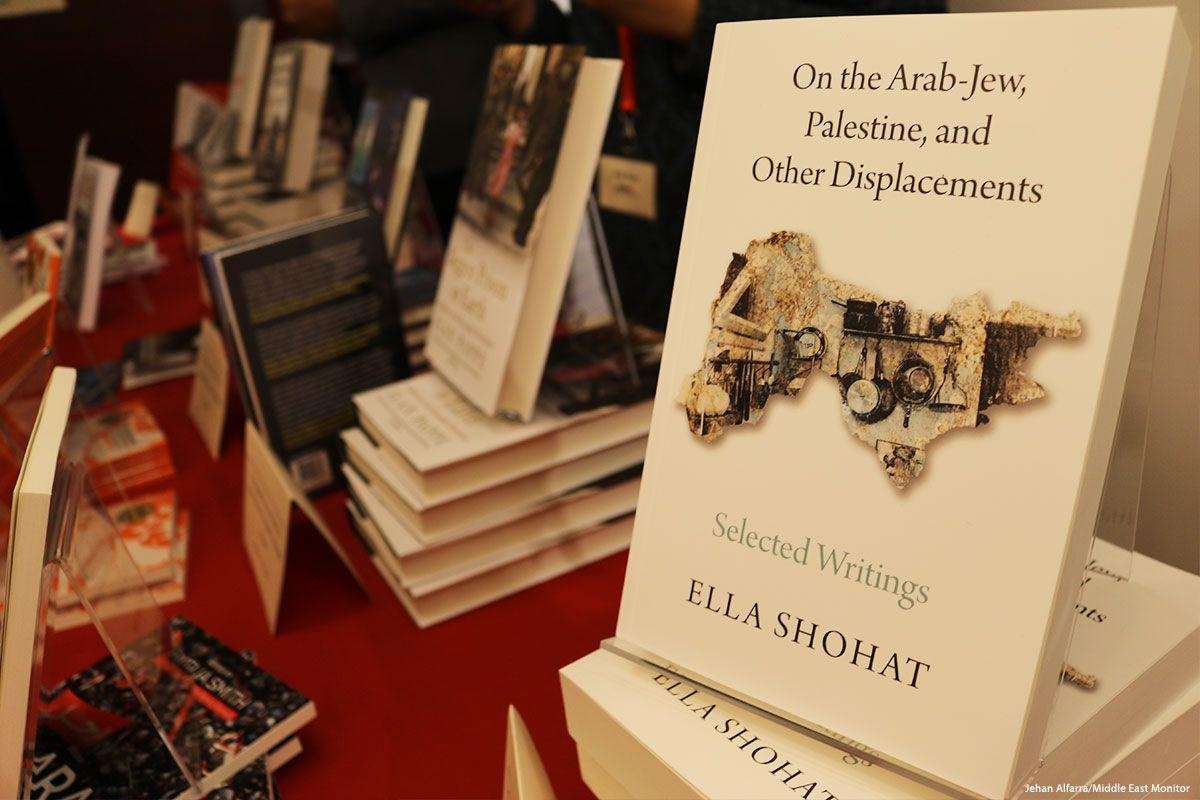 Photo of the bookstall at the Palestine Book Awards pre-launch in London, UK on 23 November 2017 [Jehan Alfarra/Middle East Monitor]