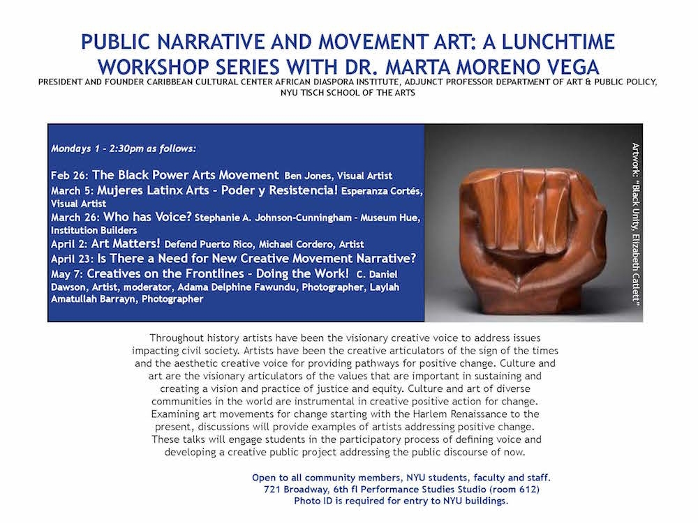 Event Flyer with Title and details; middle of page image of brown sculpture of a closed fist