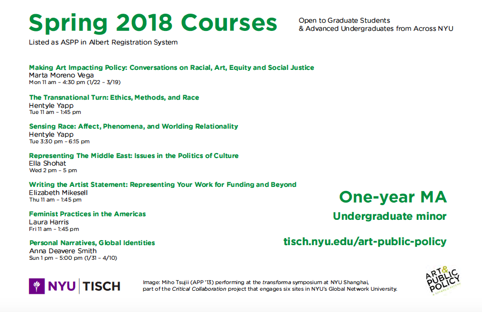 Art & Public Policy 2018 Courses