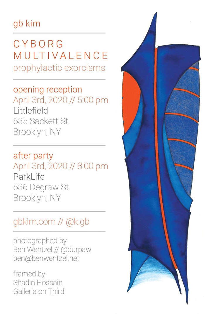 Event flyer featuring blue and red abstract illustration