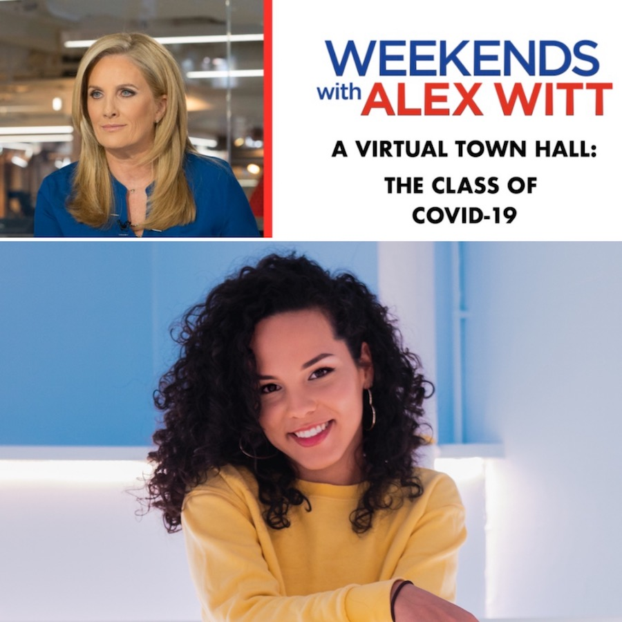 "blonde woman in blue shirt in photo on left, right text reads ""weekends with Alex Witt A Virtual Town Hall: The Class of COVID-19"" in blue and red. Image of Tatiana with dark curls and yellow top below"