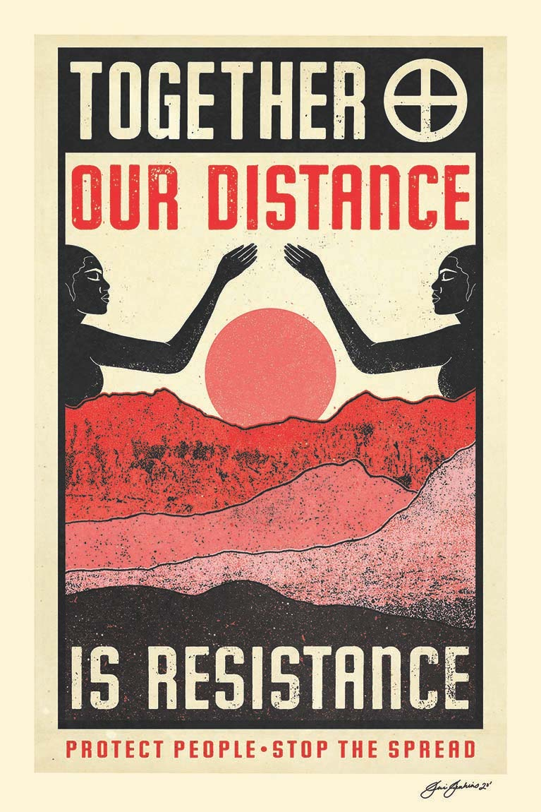 Beige poster with inset black box, red and pink mountains and sun with arms from two bodies reaching over it as illustrated image; text reads Together our distance is resistance
