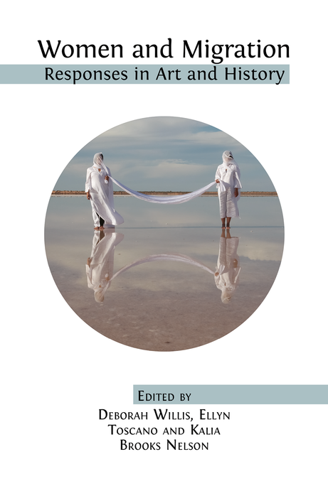 """Women and Migration:Responses in Art and History"" Cover Art with black text and circle image featuring two figures in white holding a white rope between them"