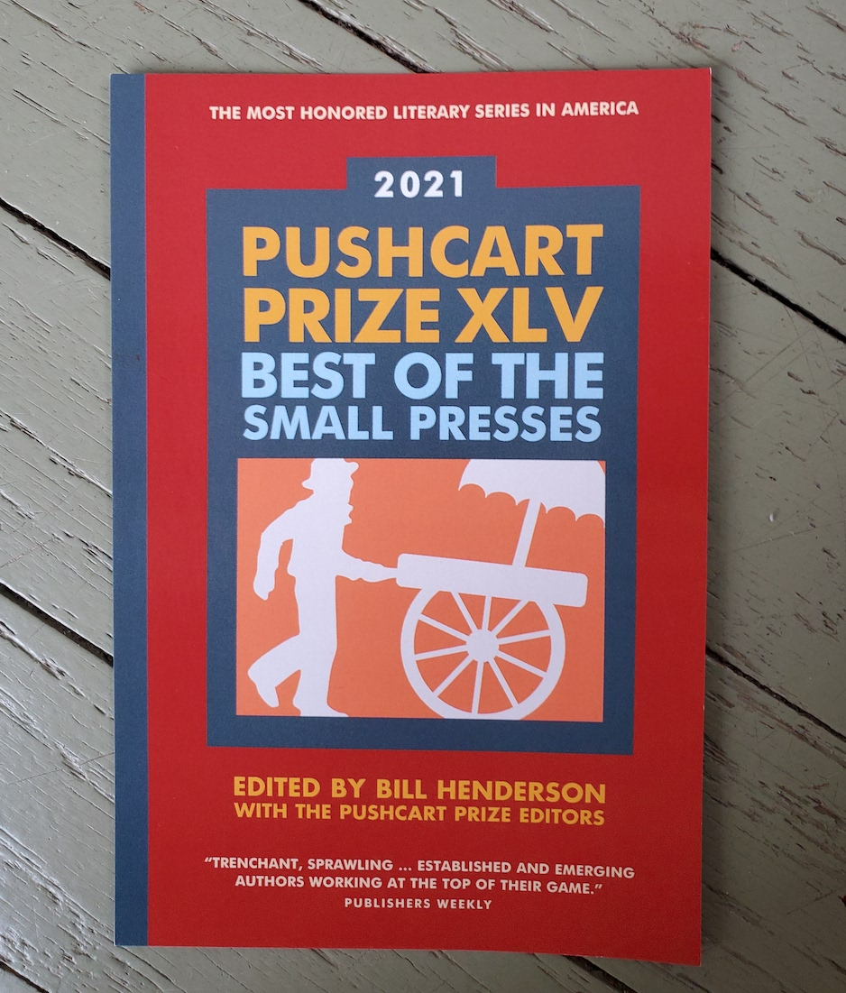 Red bookcover on top of slatted table, reads Pushcart Price XLV: Best of Small Presses with editing credentials listed below