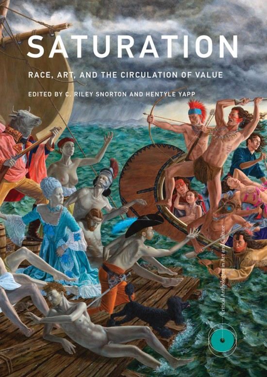 Book cover with many colors looks like mythological painting with figures on a ship in the ocean