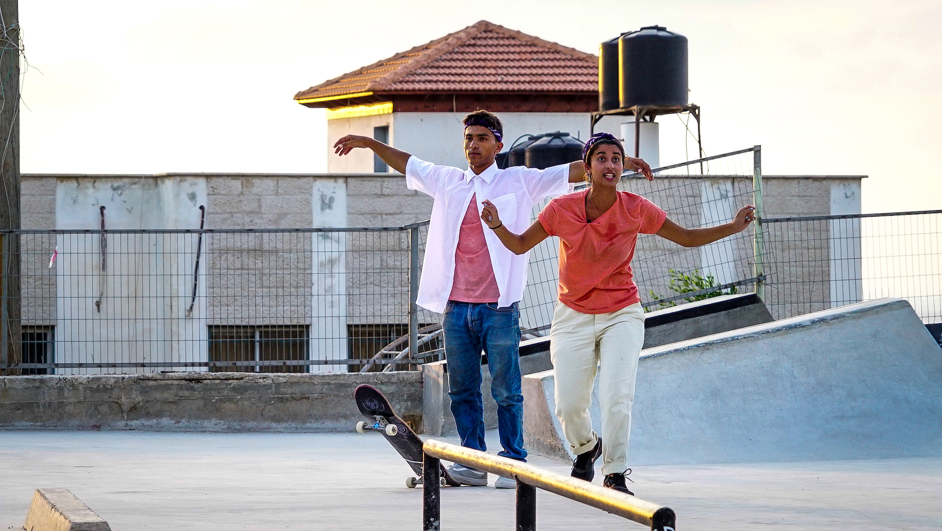 Actors in the skate park for A Skate Play