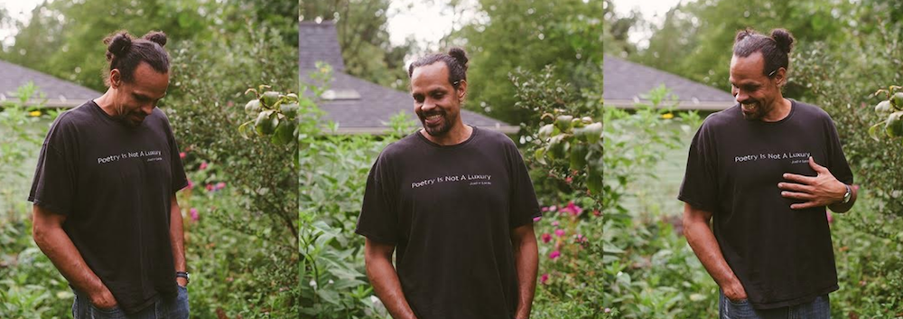 Three photos of Ross Gay in black t-shirt in a green garden