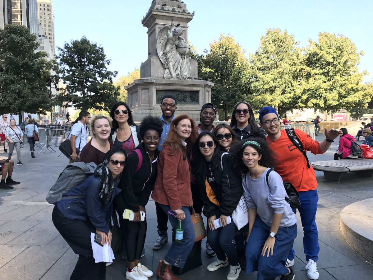 Arts Politics students and Karen Finley pose for group photo in Columbus Circle