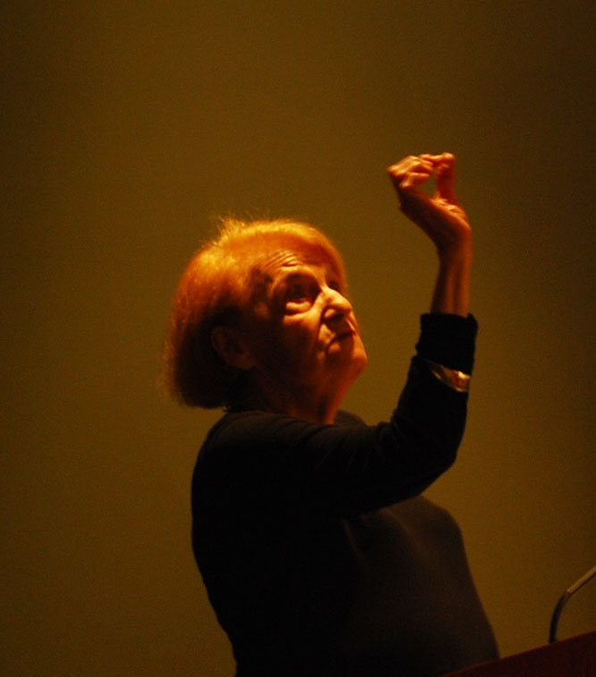 Annette Michelson pointing