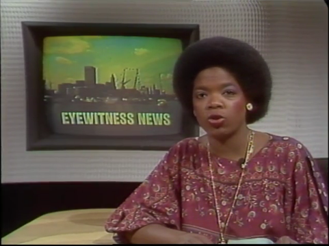"Screenshot of Oprah Winfrey anchoring WJZ-TV's ""Eyewitness News"" broadcast in 1978. All images courtesy of MARMIA."