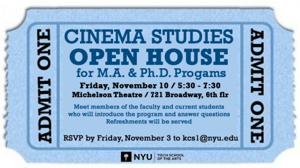 Open House for Prospective Cinema Studies Graduate Students