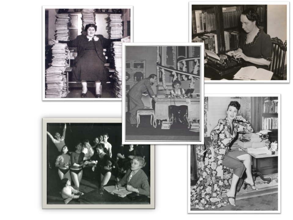 Photographs, clockwise from the top left: Gertrude Berg, Shirley Graham, Gypsy Rose Lee, and Vera Caspary, with Judy Holliday in the middle.