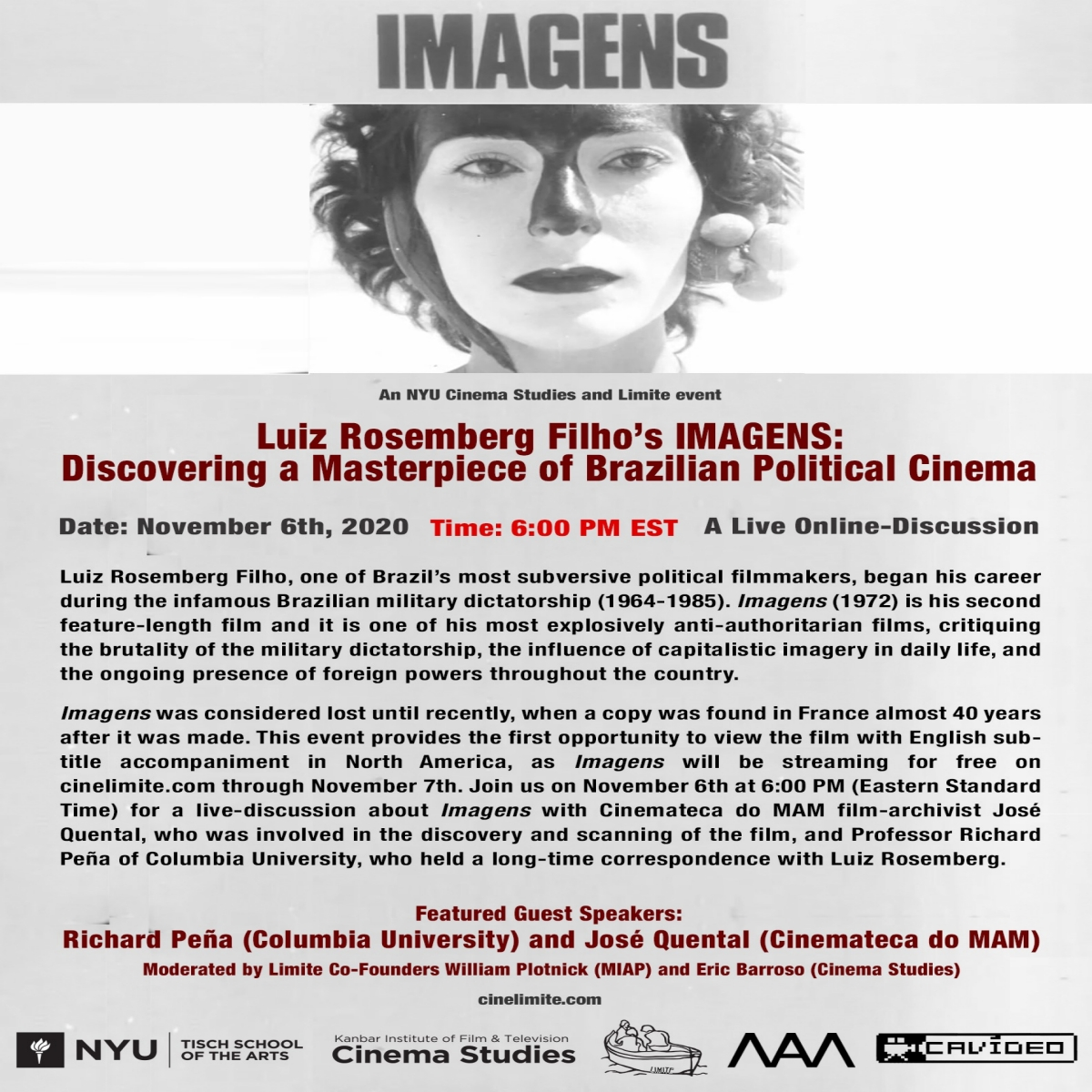 image of poster for IMAGENS, giving information regarding the event, with a film still at the top.