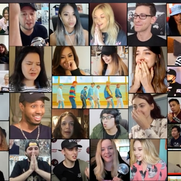 A collage of screenshots from fan reaction videos.