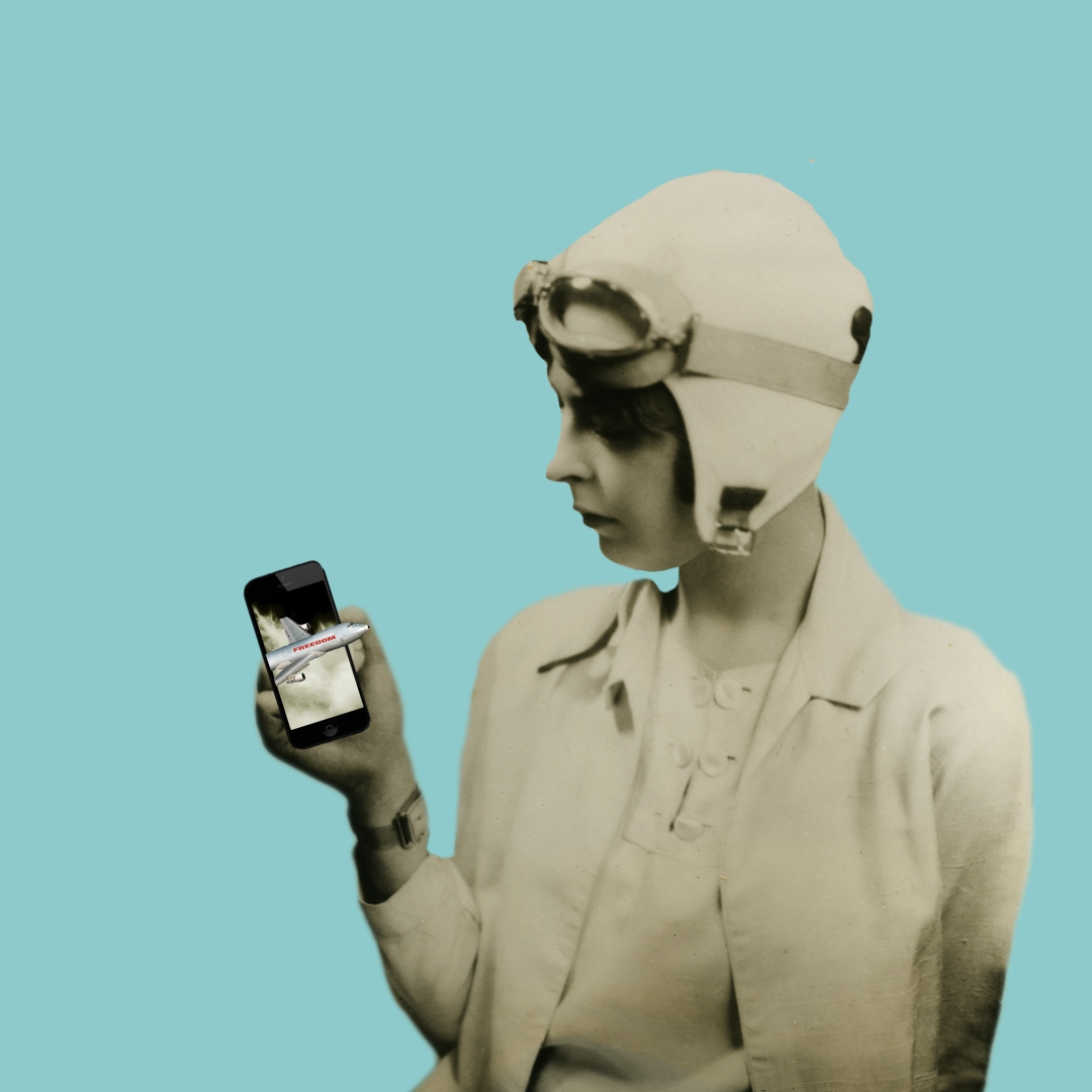 Digital collage of a woman wearing an aviator's helmet holding a cellphone with an airplane flying out of it.