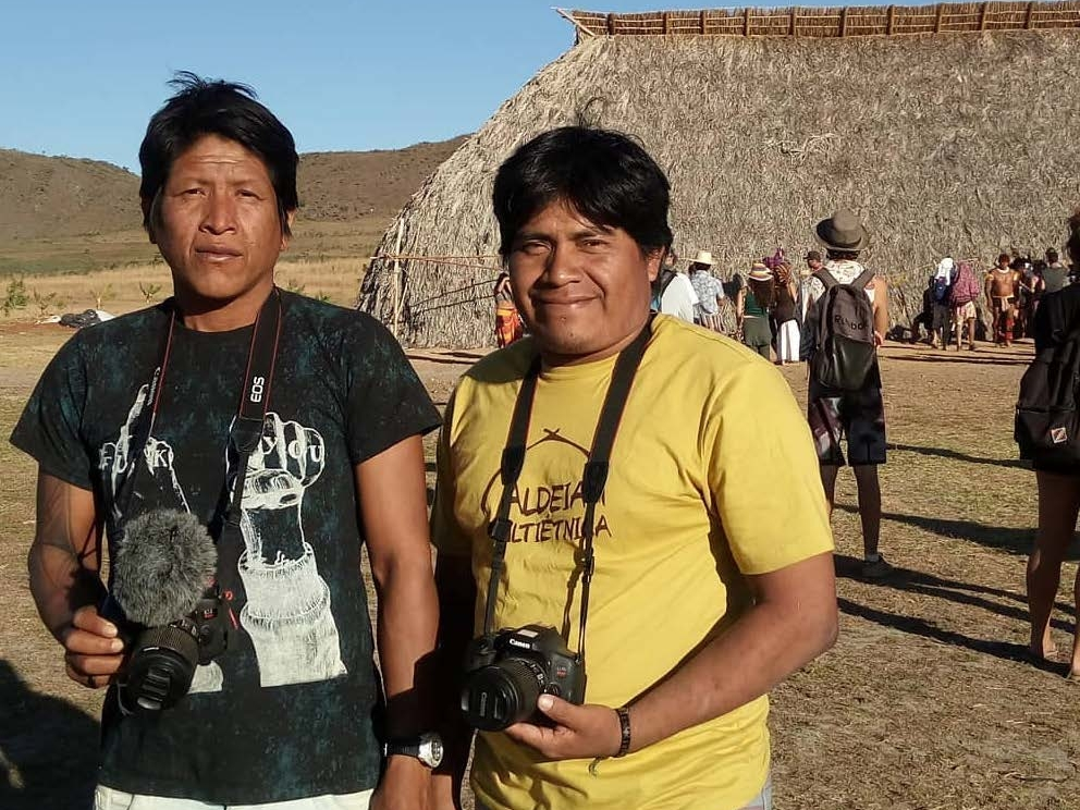 Two Kayapo filmmakers, Bepkadjoiti is pictured right and Aiyrti pictured left.