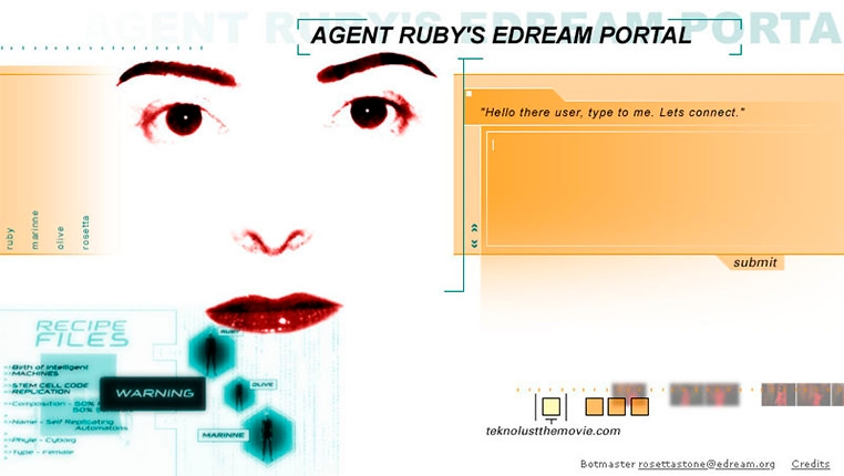 A woman's face next to a chat box. Title reads: Agent Ruby's Edream Portal.