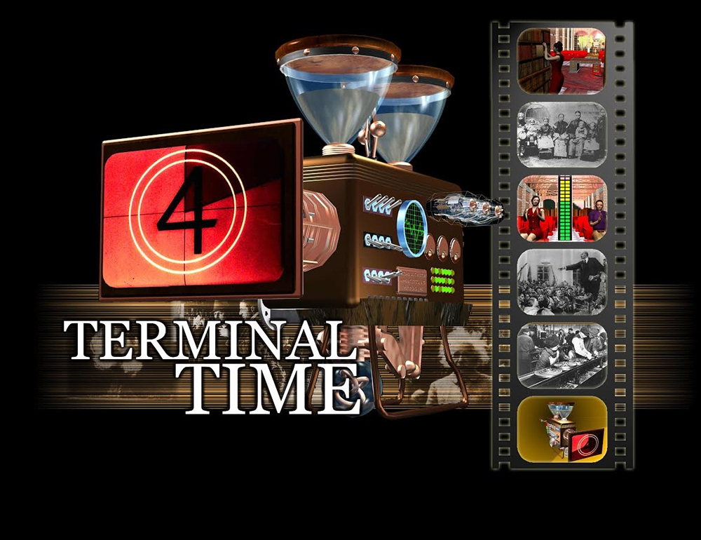 A film strip on the left and a countdown on the right. Text reads: Terminal Time