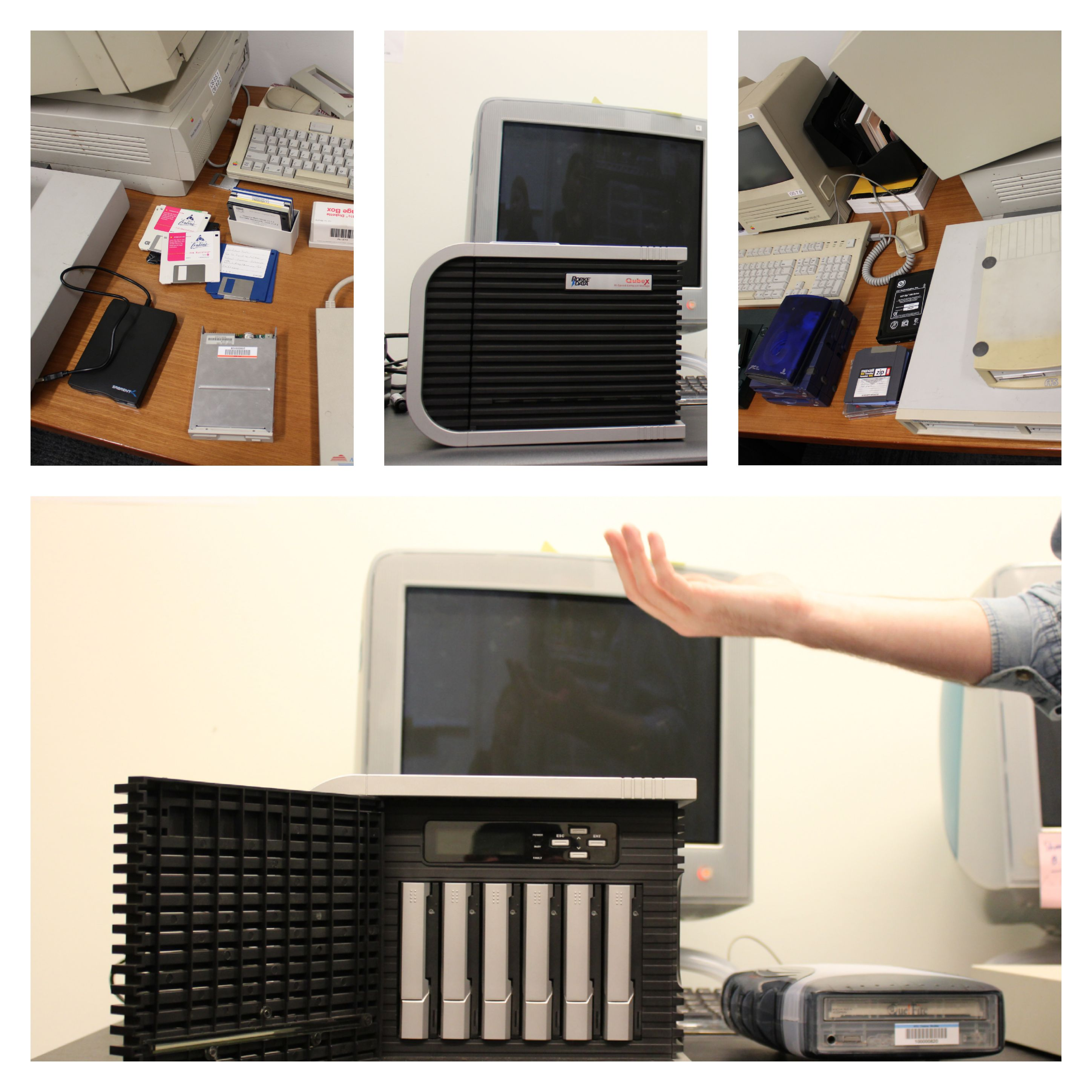 Photos of legacy and contemporary computing and storage hardware used in NYU MIAP's Digital Preservation course.