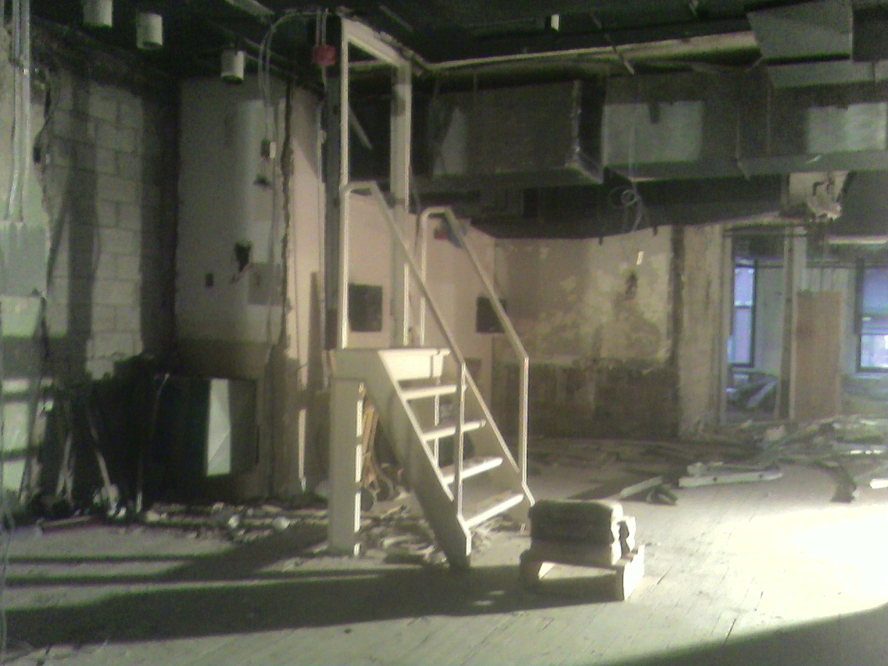 The stairway up to the projection booth during the renovation.