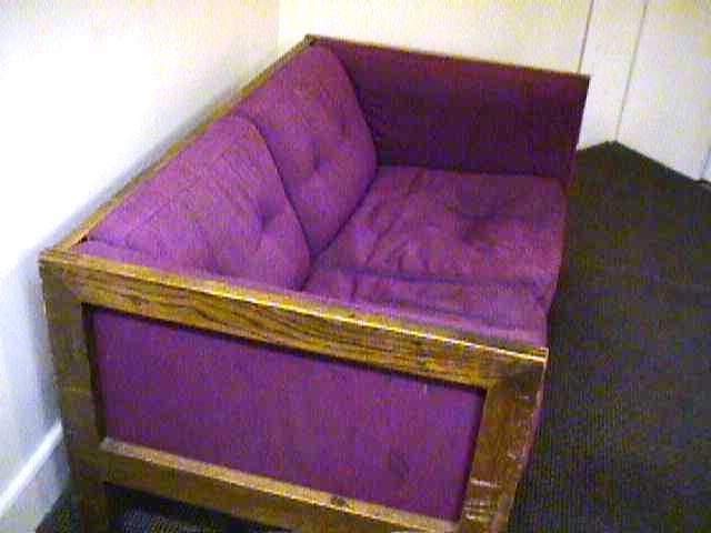 The Cinema Studies purple couch in the 1990s.