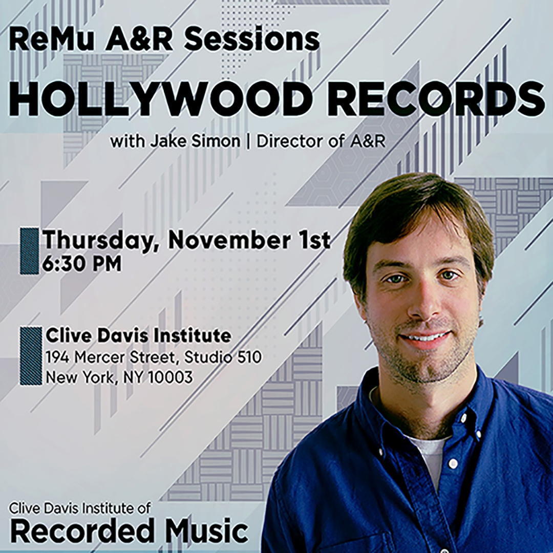 flyer with image of Hollywood Records Director of A&R Jake Simon