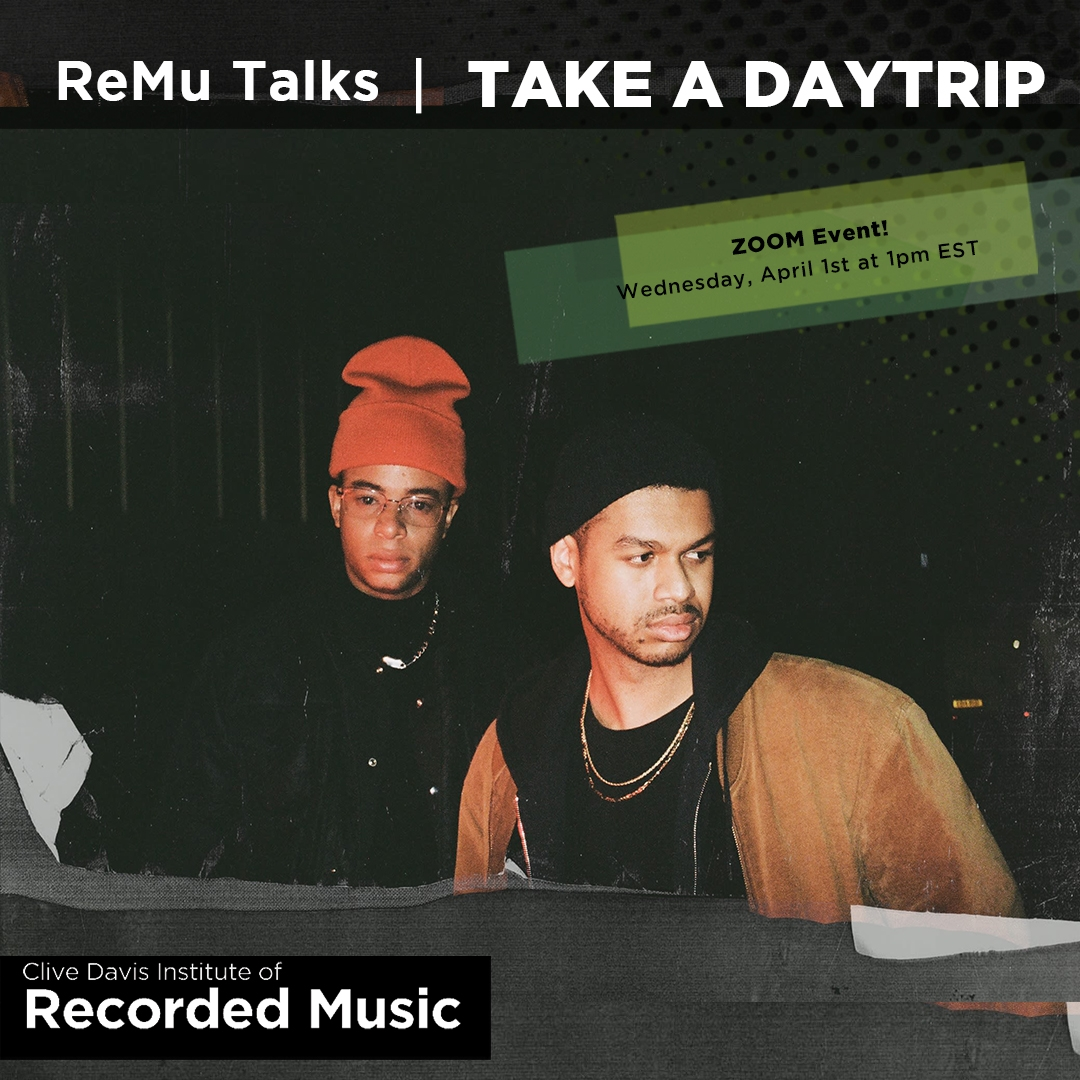 Flyer image of Zoom event with Alumni Production Duo Take A Daytrip