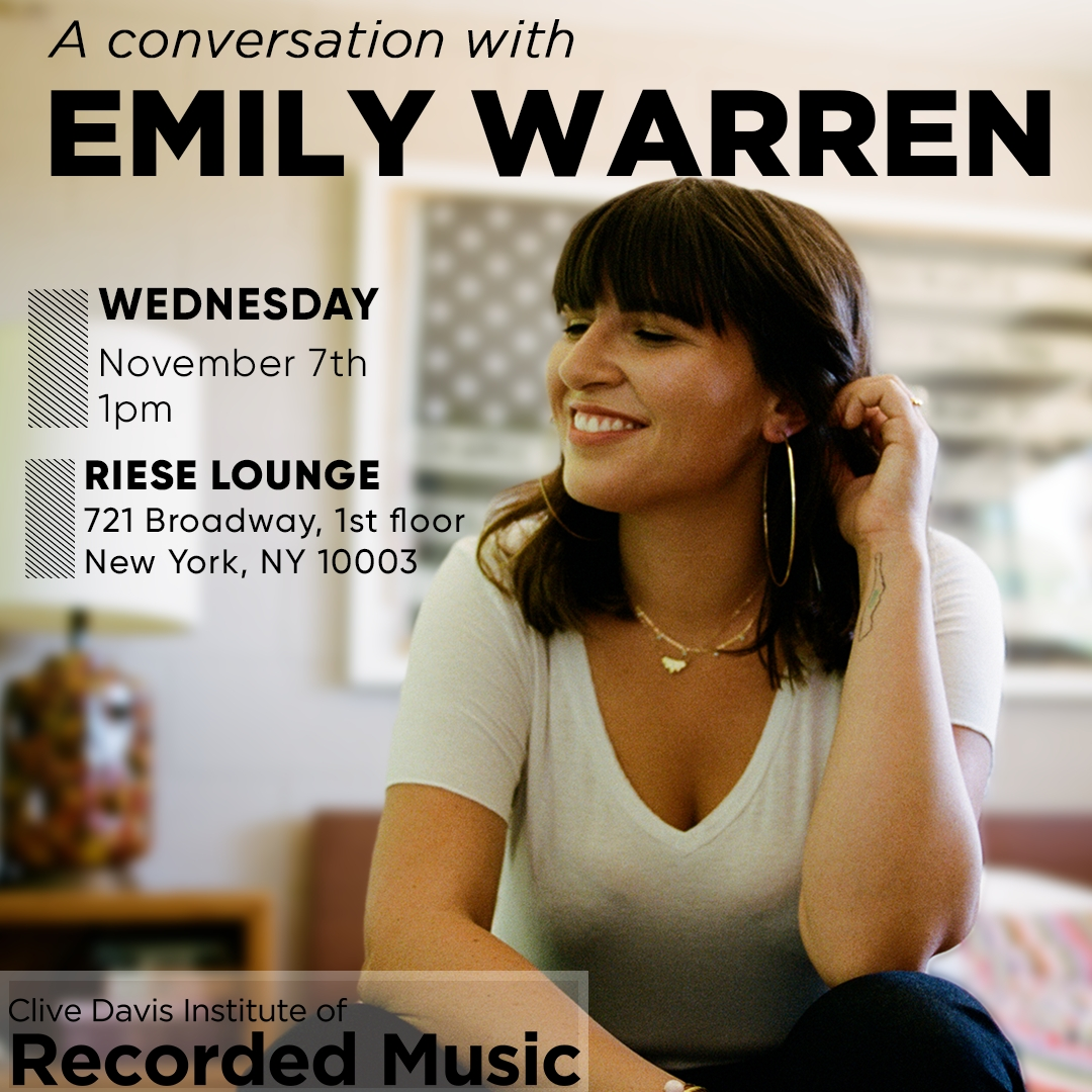 Flyer showing Emily Warren sitting on a bed smiling