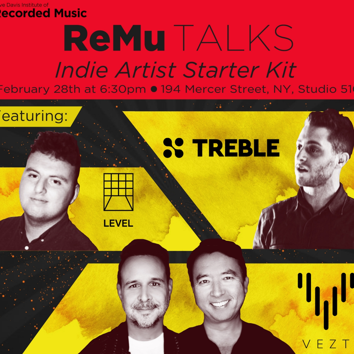 flyer for ReMu Talks: Indie Artist Starter Kit featuring the companies Vezt, Teble, and Level