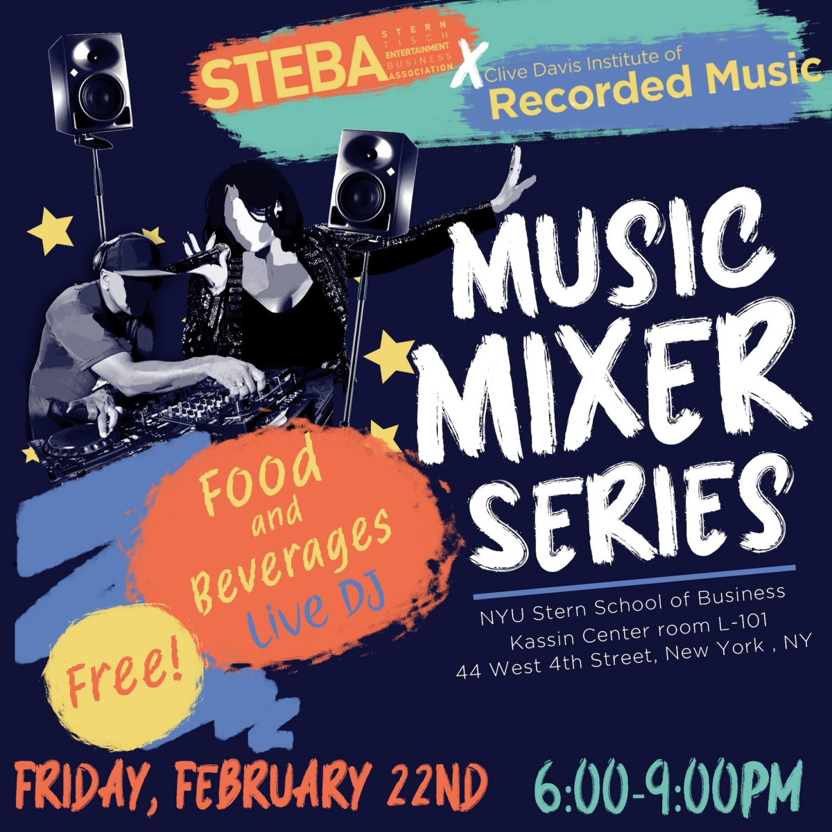 Flyer for CDI x STEBA Music Mixer Event