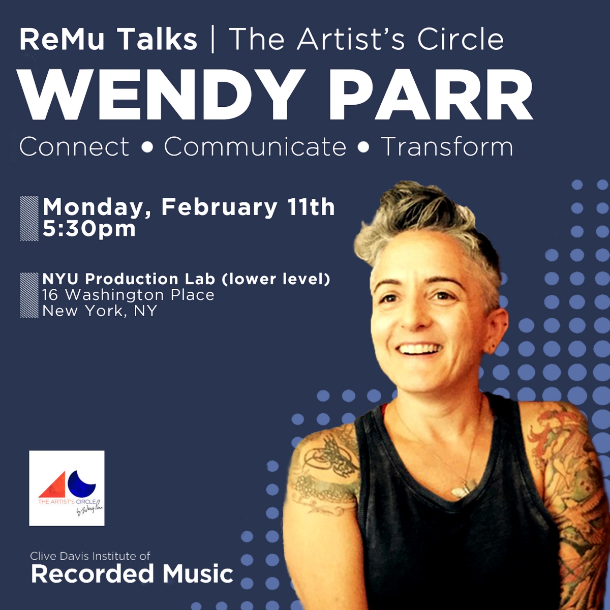 Flyer for The Artist's Circle with Wendy Parr
