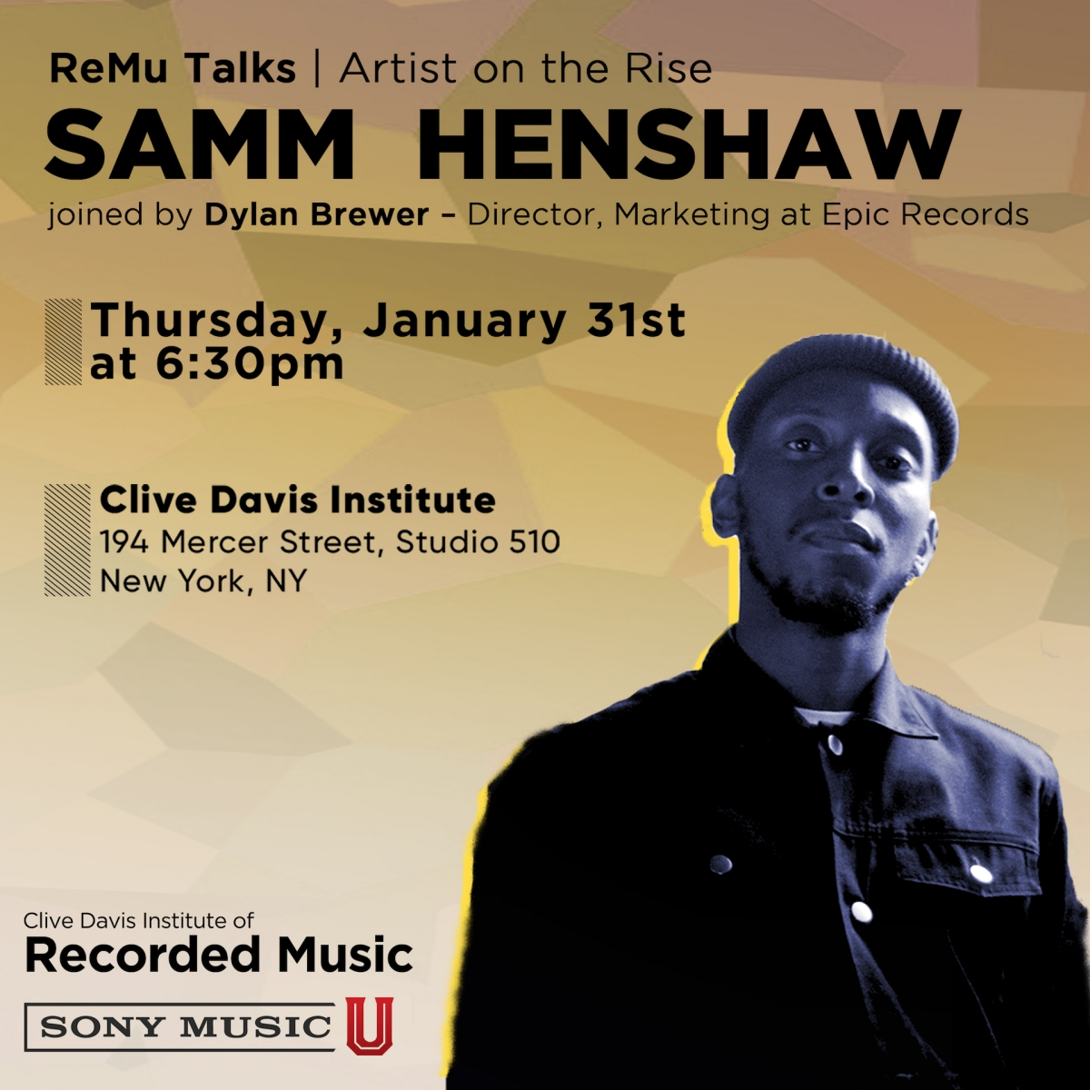 flyer to promote Samm Henshaw event at NYU
