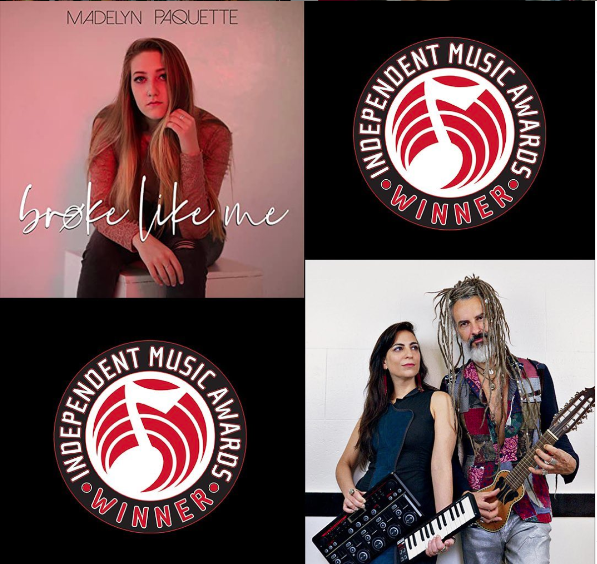 Independent Music Award winners Sofia Rei and Madelyn Paquette shown alongside IMA winners badges