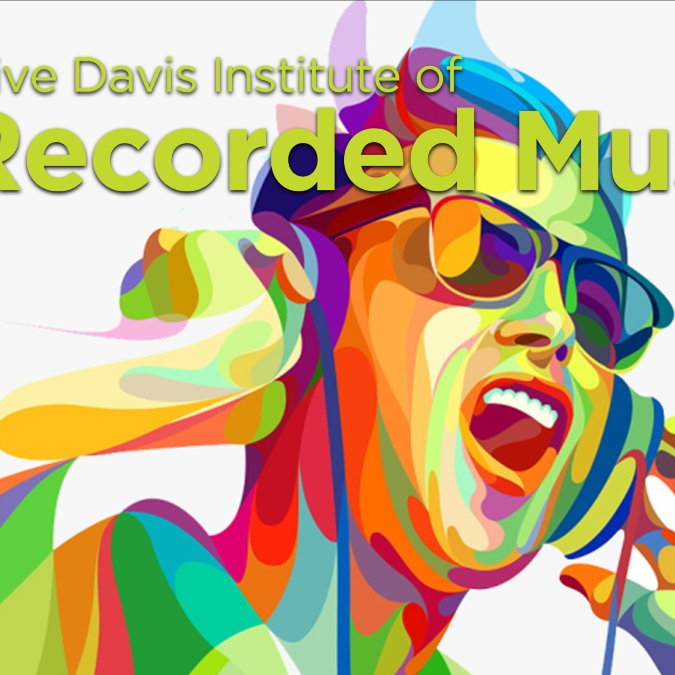 Graffiti art image of student listening to music on headphones with the Clive Davis Institute logo