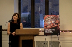 Visiting Associate Artist Patricia Leigh Beaman, teacher of Dance History at NYU Tisch School of the Arts, at the launch of her new book World Dance Cultures; From Ritual to Spectacle.