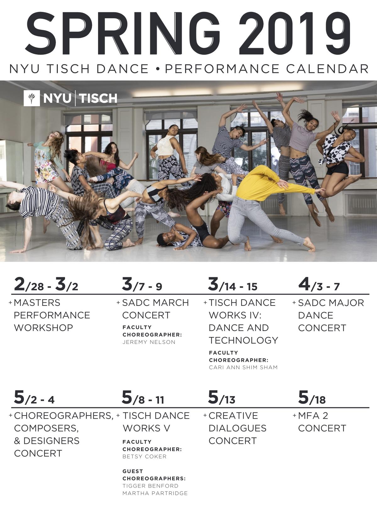 Nyu Academic Calendar Spring 2019 Spring 2019 Performance Calendar