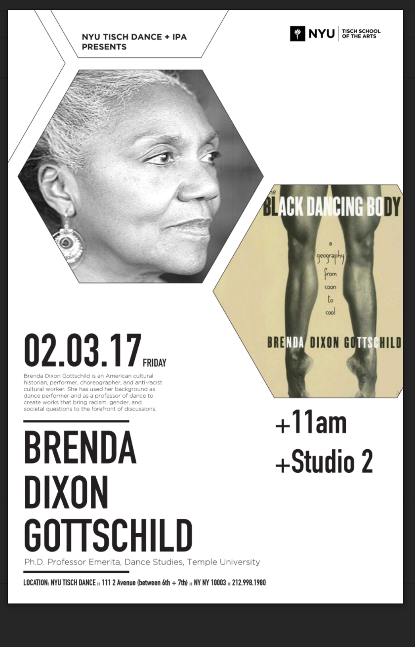 Lecture by Brenda Dixon Gottschild. Author of the Black Dancing Body.
