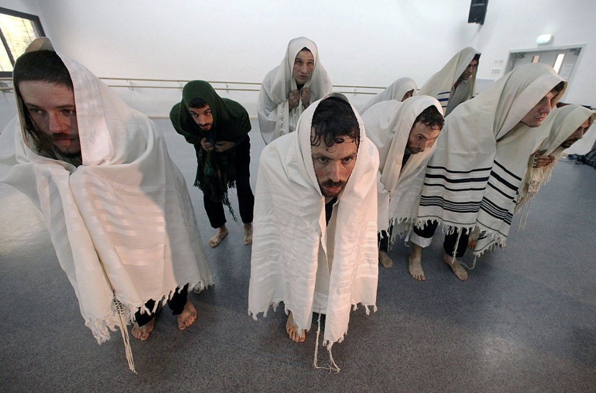 Students at the school operated by a choreographer, Ronen Izhaki, who directs Ka'et, a troupe of five Orthodox men. Credit Rina Castelnuovo for The New York Times