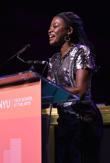 Tisch alum Pascale Armand speaks about Danai Gurira before presenting her award